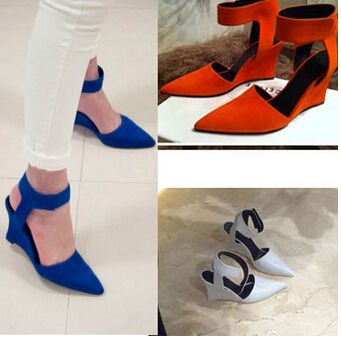 Women Wedges Fashion Brand Ankle Pointed Toe Pumps Sexy Sandal High Heels Black Blue Orange White Women Shoes Summer