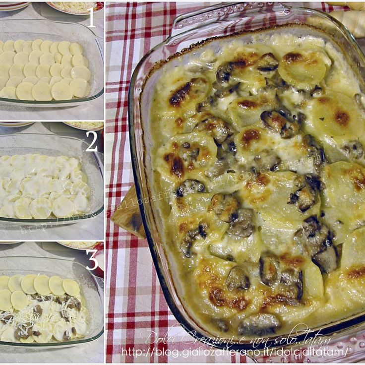 Mess of potatoes and mushrooms and cheese