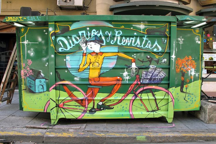 Street art on a newspaper stand in Buenos Aires, Argentina