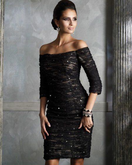 Sherri, in a de-Laurentis beautiful black lace coctail dress...
