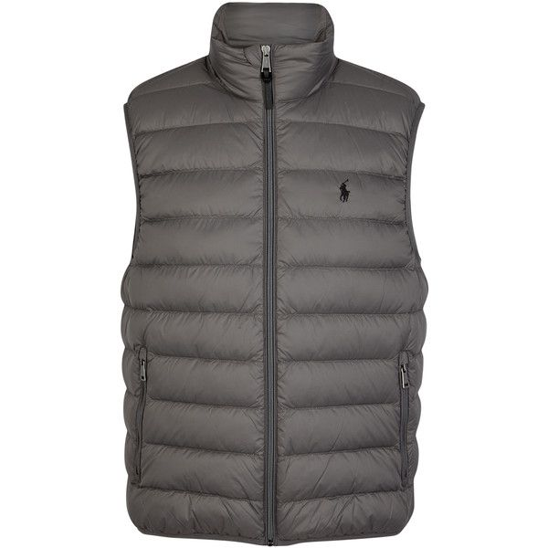 Polo Ralph Lauren Grey quilted shell gilet ($260) ❤ liked on Polyvore featuring men's fashion, men's clothing, men's outerwear, men's vests, mens grey vest, mens gray vest, mens quilted vest, mens zip vest and polo ralph lauren mens vest