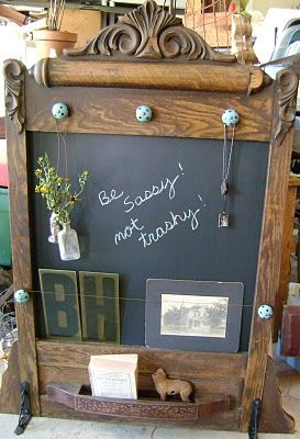 antique dresser mirror turned chalkboard organizer