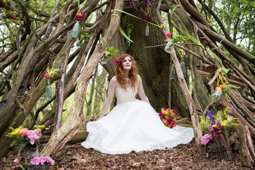 A wedding beloved shoot in the woods, photographed by Lily and Frank, with flowers by Fairy Nuff Flowers