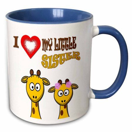 3dRose I love my little sister. Two giraffes. Popular quotes. Saying. – Two Tone Blue Mug, 11-ounce