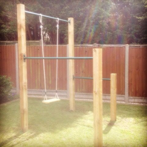 Diy pull up bar installed in coventry xorbars garden for Homemade pull up bar galvanized pipe