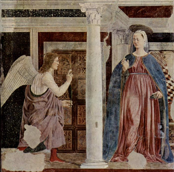 Piero della Francesca, The Annunciation to Mary, c. 1455, fresco, 329 x 193 cm, San Francesco, Arezzo