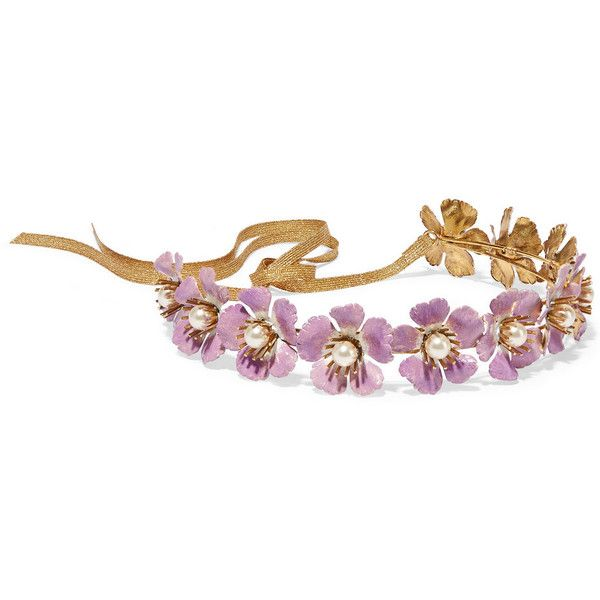 Jennifer Behr Faye gold-tone, faux pearl and enamel headband ($1,020) ❤ liked on Polyvore featuring accessories, hair accessories, purple, jennifer behr, headband hair accessories, hair band headband, flower headwrap and flower hair accessories