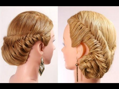 """Прическа с плетением """"рыбий хвост"""" на длинные волосы. Fishtail braid hairstyle tutorial"""