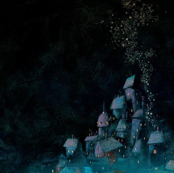 Llega la noche by Poly Bernatene. #art #village #night #stars #light #illustration