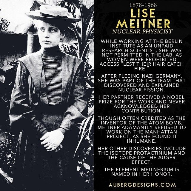 Lise Meitner, nuclear physicist. She's part of my #WomeninSTEM jewelry line at AubergDesigns.com!  http://ift.tt/1Ed5YE4