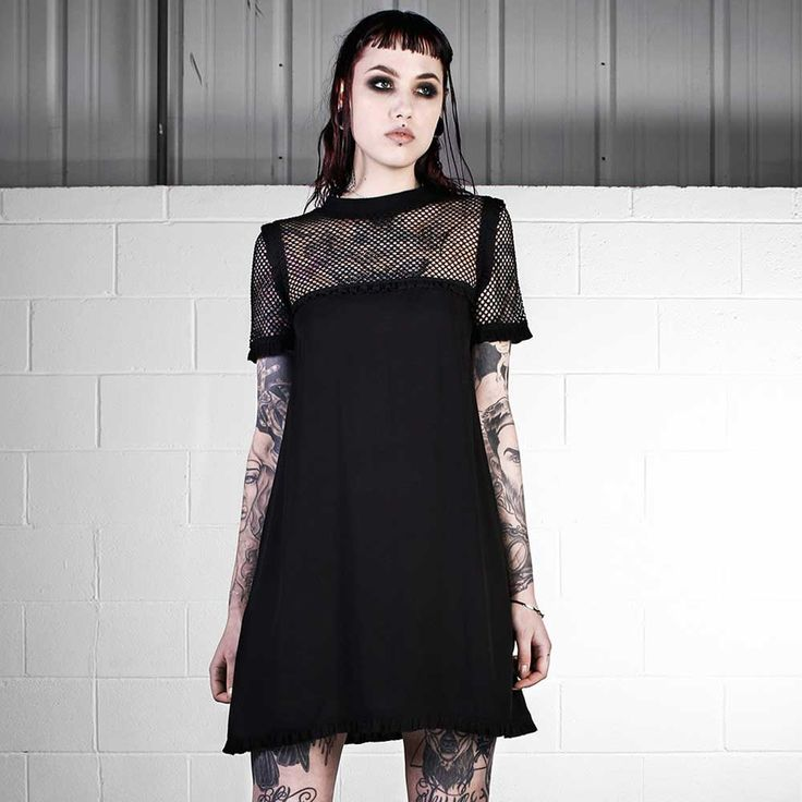 Disturbia Veil korte jurk met gaas zwart | Attitude Holland
