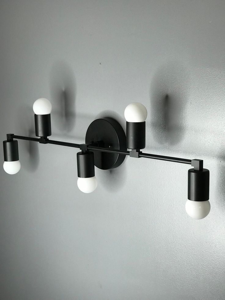 Wall Sconce Matte Black 5 Bulb Vanity Light Fixture ...