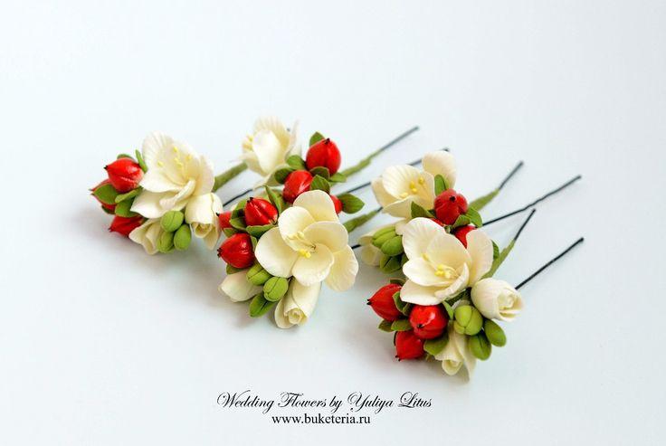 Цветы в прическу, цветы из полимерной глины. www.buketeria.ru