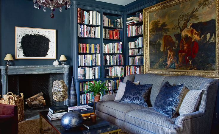 Aerin Lauder's library - love the blue, sconces, painting