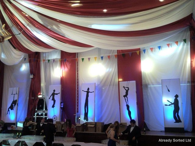 Draping, ours would also have a circus/carnival feel