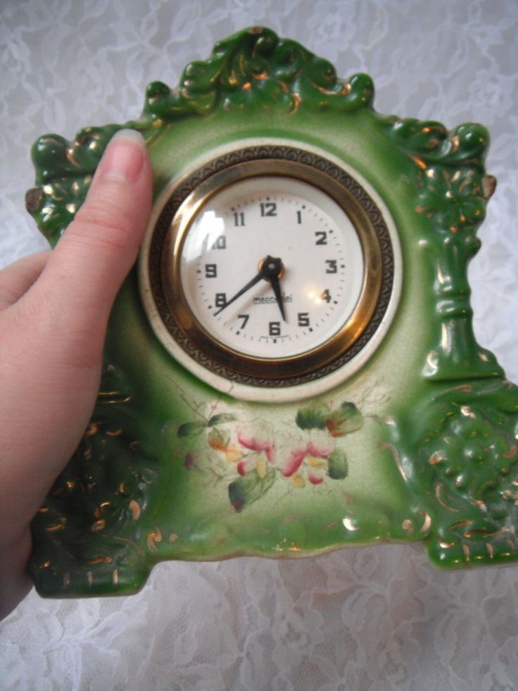 Beautiful Antique Vintage Porcelain Victorian Style Green Floral Gold Pink Small Mantel Clock Tulip Mercedes  Germany 1890's 1900's by WeReallyAreRomantic on Etsy