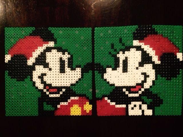 Disney Perler Beads: Christmas Mickey and Minnie made by Daniel Nasiatka