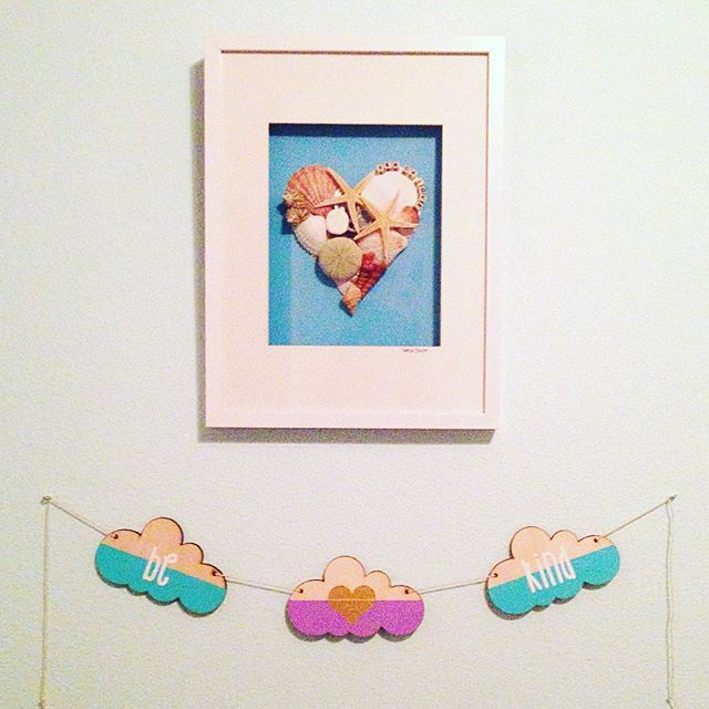 The perfect spot! We are loving our Be Kind cloud garland next to this amazing Sea of Love picture! Thanks for sharing @dmobrown ☀️ #sunnybunny #sunnybunnykid #clouds #garland #banner #wood #woodgarland #woodbanner #bekind #aqua #lavendar #etsy #etsyshop #etsyseller #etsygifts #handmade #shopsmall #shoplocal