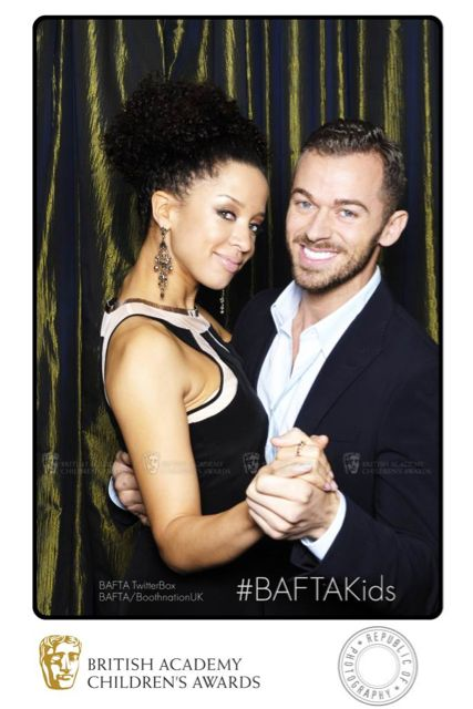 Strictly Come Dancing competitors Natalie Gumede and Artem Chigvintsev waltz in the TwitterBox
