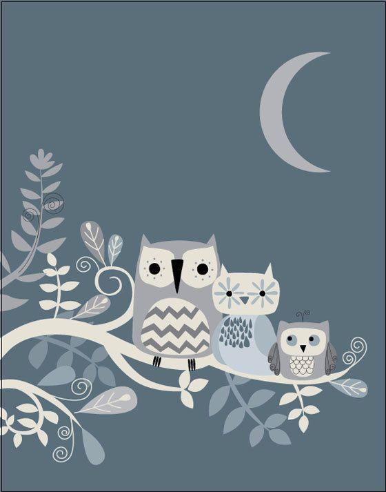 owl family tree 11 x 14 wall art by BlueBunnynOrangeNose on Etsy, $30.00