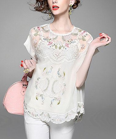 Another great find on #zulily! Apricot Embroidered Flare-Sleeve Top #zulilyfinds