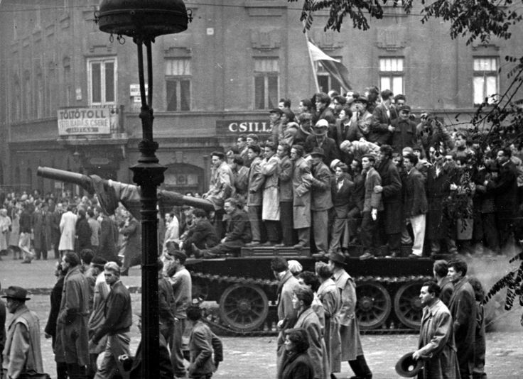 Felvonulók a Bajcsy-Zsilinszky úton | Demonstrators riding a captured tank #tank #revolution #1956 #hungary #houseofterror #communism