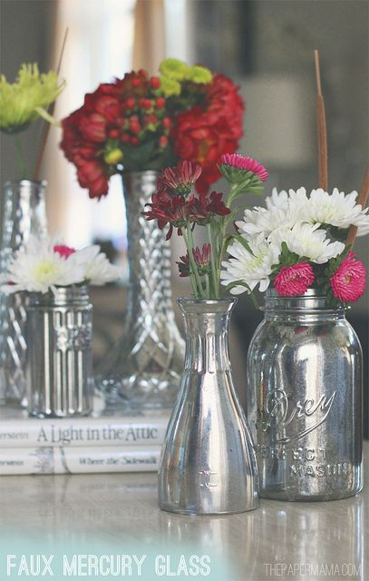Faux Mercury Glass vases! They are so simple to make! via: http://thepapermama.com/2012/11/day-28-faux-mercury-glass-vases.html