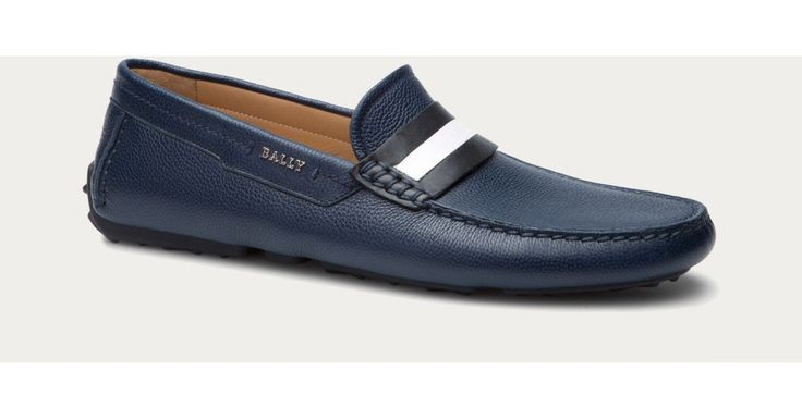 Bally Men's Shoes 'Dracon' Grained Leather Navy Blue Loafer Driver 9/42 NIB $495…