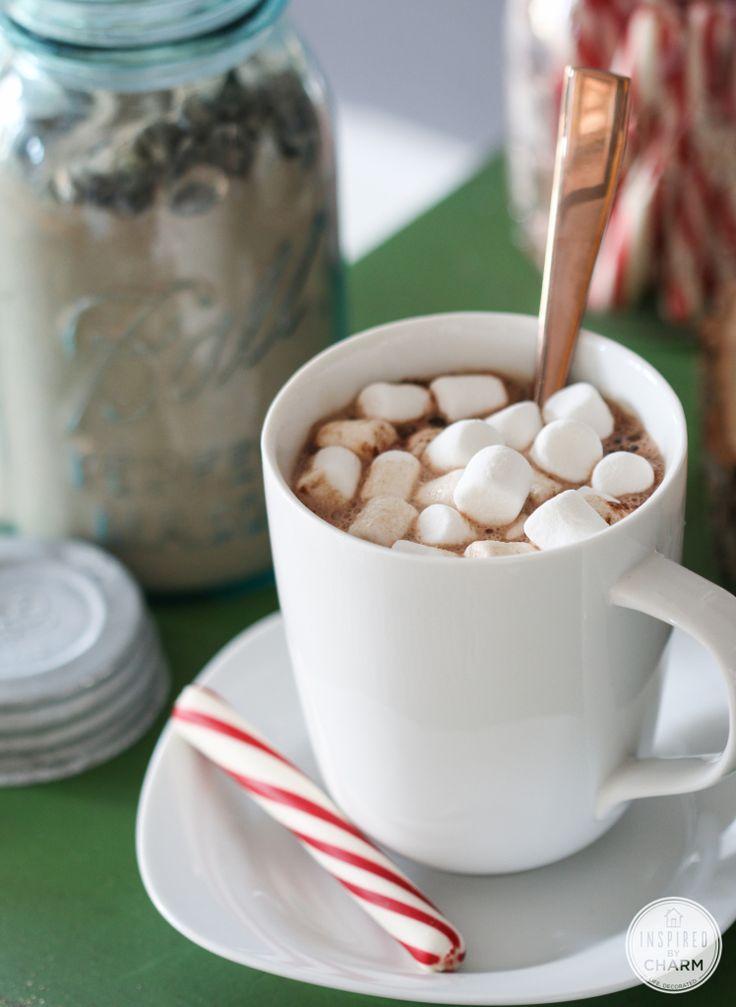 How to set up a Hot Cocoa Bar PLUS three Hot Cocoa recipes (milk chocolate, white chocolate, spiced chocolate) - great for the holidays and gift giving! www.inspiredbycharm.com