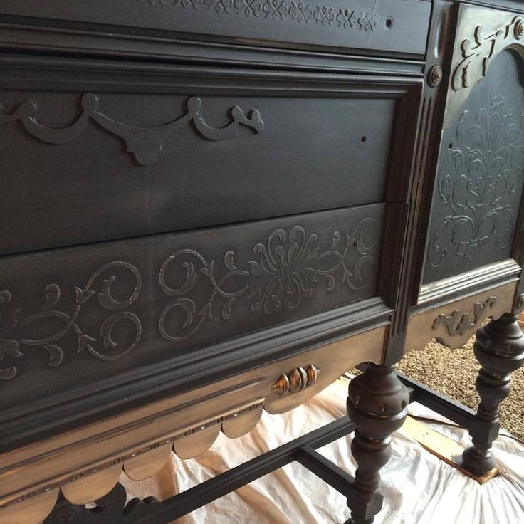 Artisan Enhancements VP Antico pushed through stencils adds textured design interest to this otherwise flat buffet painted by Furniture Art Studio in Toledo, Ohio!