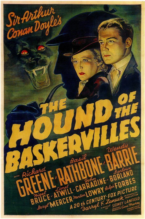 Film poster for The Hound of the Baskervilles based on the book by Arthur Conan Doyle.