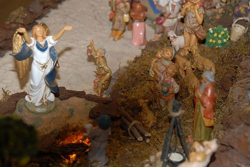 Fontanini nativity Christmas display ideas.  Scene- angel appears to shepherds in the fields.  Elevate your angel as most shepherd figures are looking up.