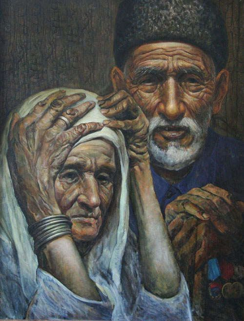 Painting by the Crimean Tatar artist Rustem Eminov. See more in: http://britishlibrary.typepad.co.uk/european/2014/05/you-plowed-my-blooming-orchards-you-did.html