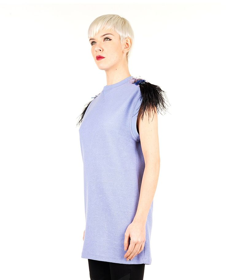 MR&MRS Purple sweater round neckline sleeveless  ostrich feathers on the shoulder 100% CO  100% OSTRICH FEATHERS