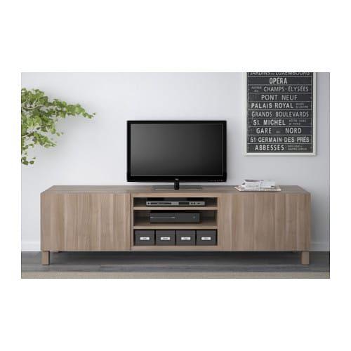 Ikea besta lappviken walnut effect light gray tv unit with - Walnut effect living room furniture ...