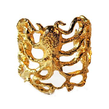 Gold octopus cuff from FAB: Octopuss Cuffs, Cuffs Bracelets, Octopuses Cuffs, Perry Gargano, Gold Cuffs, Gargano Octopuses, Gold Octopuses, Birds Cuffs, Cuffs Octopuses