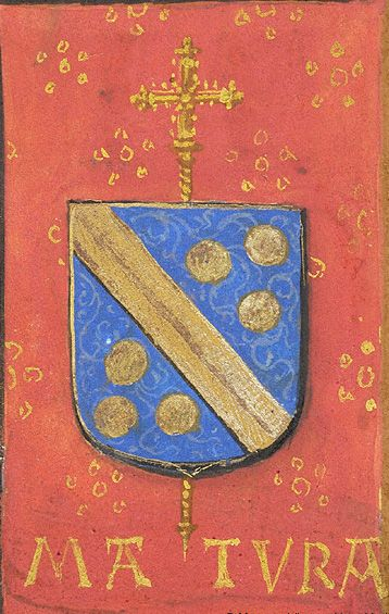 Escutcheon with arms of Jean Carondelet (azure a fasce and six bezants or en orle, an archiepiscopal cross in pale beneath the shield), with the motto MATURA and the initials IC. (f°13v) -- «Book of Hours», Bruges (Belgium), ca. 1500 [Morgan, MS M.390]