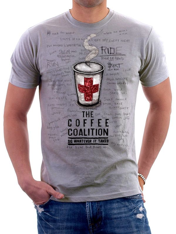 """For all those sporting types who look forward to their post activity caffeine hit. This tee says it all. """"The Coffee Coalition"""". www.cycologygear.com"""