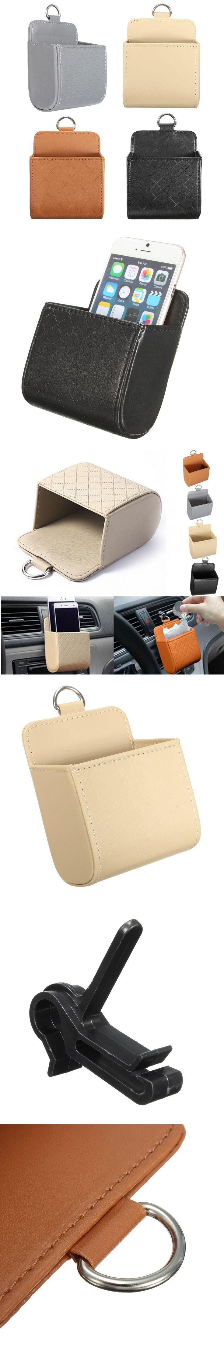 Auto Car PU Cell Phone Cradle Box Organizer Vehicle Storage Bag Holder