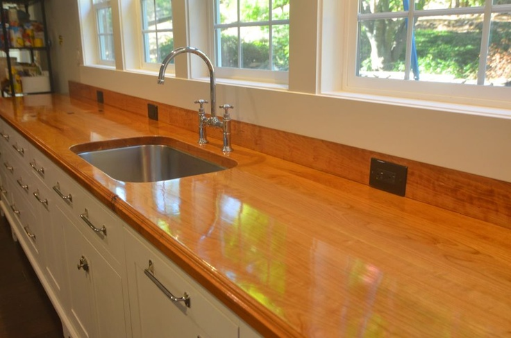 bowling alley lane turned kitchen counter