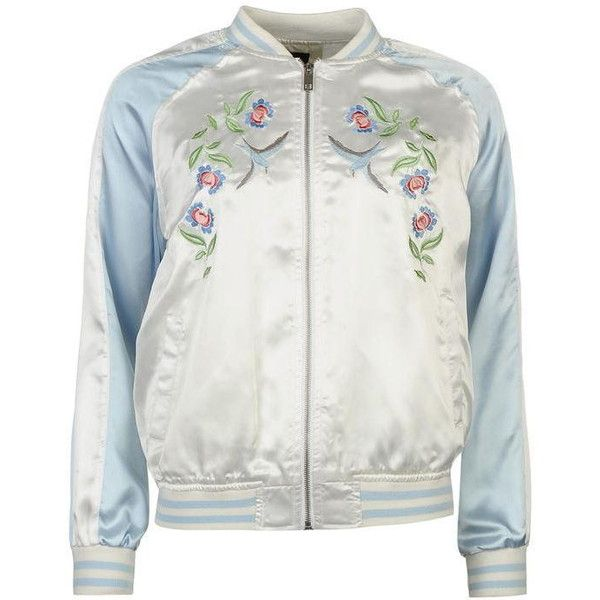 Golddigga Embroidered Bomber Jacket Ladies ($19) ❤ liked on Polyvore featuring outerwear, jackets, embroidered bomber jackets, flight jacket, bomber style jacket, bomber jackets and embroidery jackets