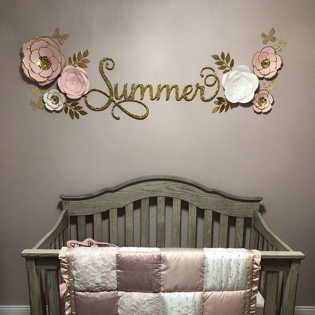 Family Name Personalized Name Custom Name Sign Girl/'s Room Split Monogram Baby Girl Nursery Name Sign Metal Baby Shower Sign