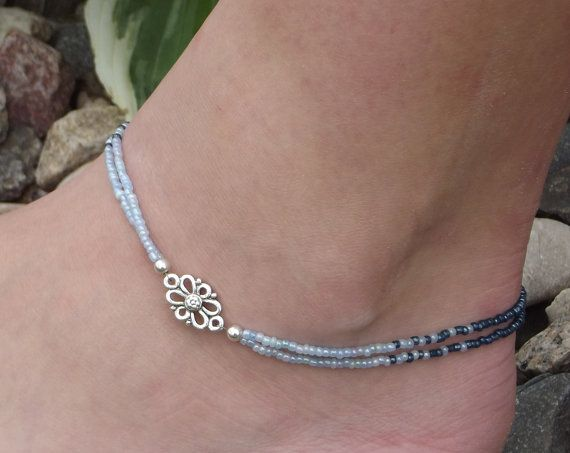 HandMade Anklet Beaded Double Strand Sterling Silver by TCJdesigns, $22.00
