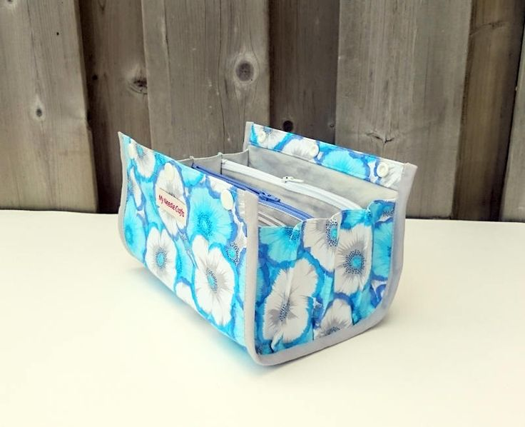 Knitting Notions Pouch, Ultimate Notions Pouch, Knitting Bag, Divided Notions Pouch, Notions Bag, Blue and White Morning Glory Print by MyNeedleCrafts on Etsy