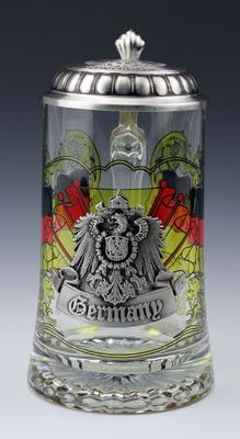 Glass beer stein with German flag and pewter badge with Imperial German eagle. From TrueBeer.com.