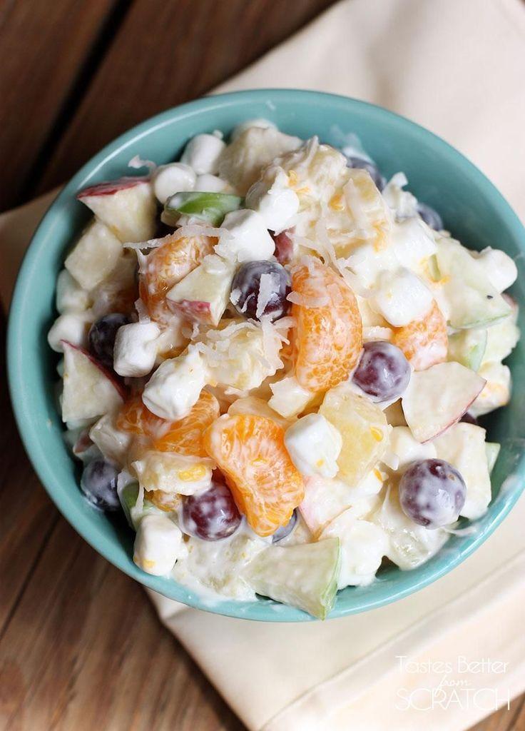 Creamy Fruit Salad recipe using Greek Yogurt--sweet and creamy without the added calories! Recipe on TastesBetterFromScratch.com