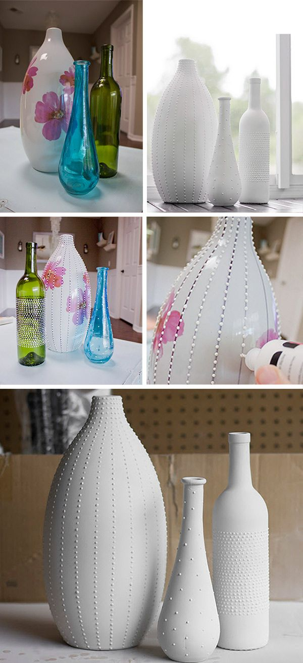 DIY - Faux Hobnail Vases using Puff Paint + Spray Paint. Full Step-by-Step Tutorial. (doing this with recycled containers for sorting small things)