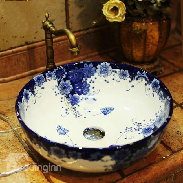 High Quality Newest Artistic Blue And White Design Bathroom Sink Part 86