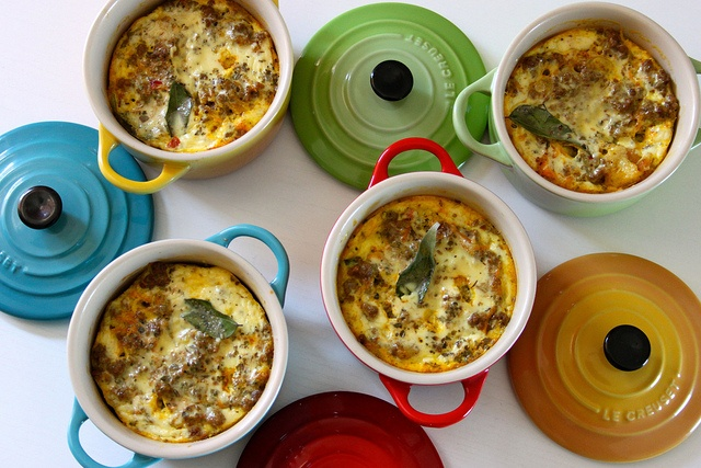 Bobotie, a South African dish made up of mince and an egg-based topping. Baked and served in gorgeous mini cocottes from Le Creuset.