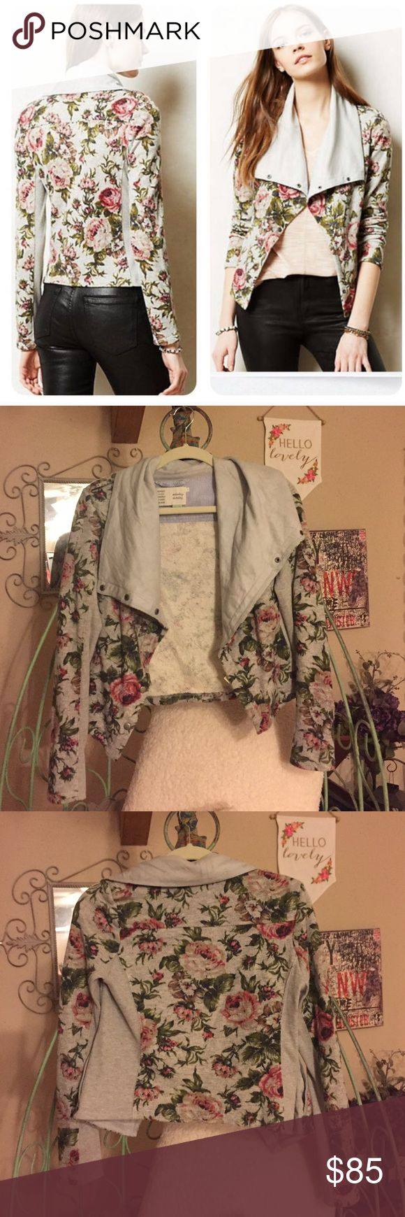 Anthropologie Floral Moto-Jacket Anthropologie Floral Moto-Jacket, size XS petite. This jacket is new without tags, never worn. Beautiful grey & floral! Perfect transition piece from Winter to Spring! 🌸🌹🌷 Comes from a smoke free home. Anthropologie Jackets & Coats
